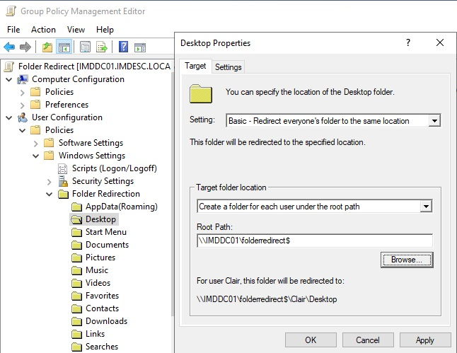 Group Policy Folder Redirect Settings