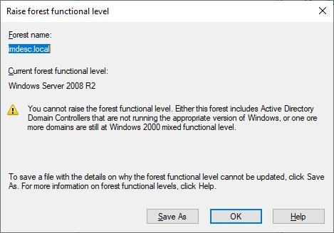 Raise Forest Functionality Level 2008